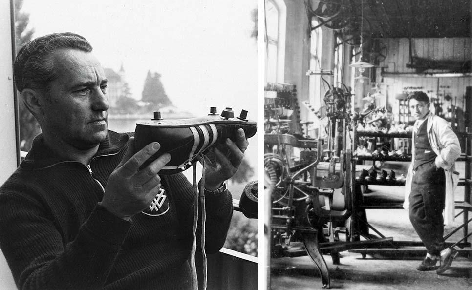 Адольф Дасслер прикручивает шипы к бутсам Adidas, 1954 год. Фото: Side-step.ru